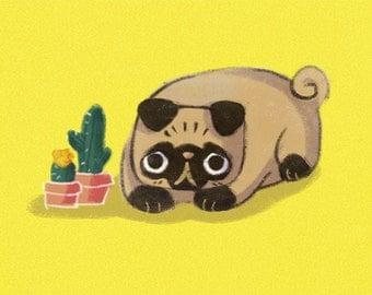 SALE!!! Pug cute dog A4 print nursery art