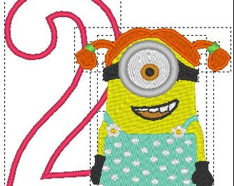 minion girl 2 embroidery design girl minion embroidery design 2nd birthday embroidery design