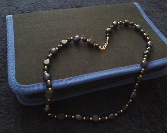 Blackstone and Blue Pearl Necklace