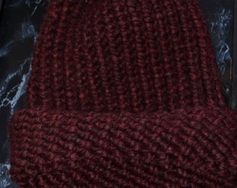 Deep Red Handmade Knit Hat Small