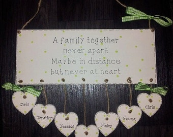Personalised Family Across The Miles Wooden Gift Plaque