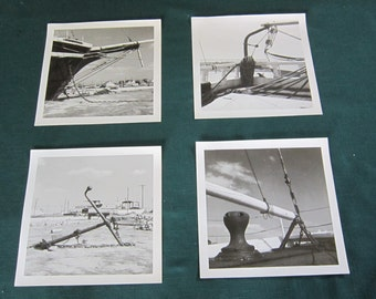 Dog Days of Summer Sale!!! Now 20% Off!!! Four 8x8 Black and White Vintage Nautical Photographs