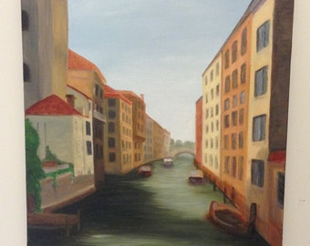 Venice Canal; Italian inspired canal painting with bridge