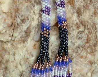 Native American Inspired Purple Peyote Earrings