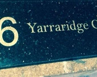 Black Granite House Signs Customised and laser engraved with your own text and motif