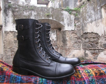 Handcrafted black leather combat boots