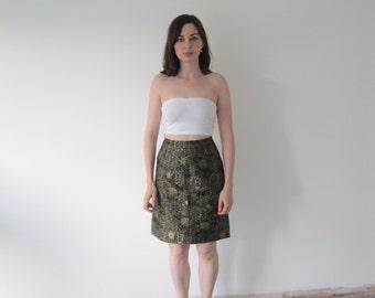 Vintage Ladies High Waisted Brocade Print Skirt