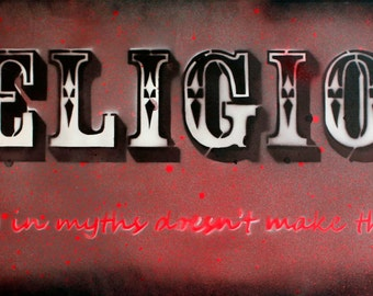 Religion - On Canvas 40cm x 100cm (Red/Black)