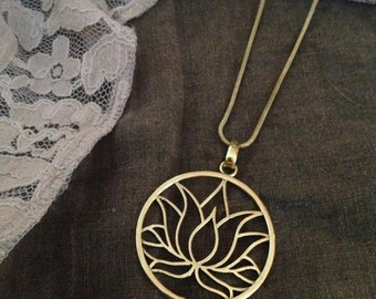 The Lotus Purity, Brass/Silver Flower Pendant