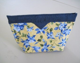 Blue and yellow floral snap closure bag