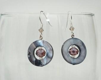Disc earrings - Modern and Stylish Purple and Smoke Disc Earrings