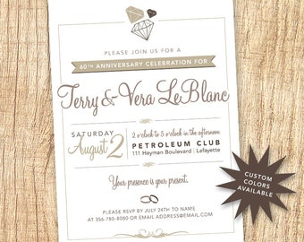 Wedding Anniversary Party Invitation Printable { 60th } { Customizable }