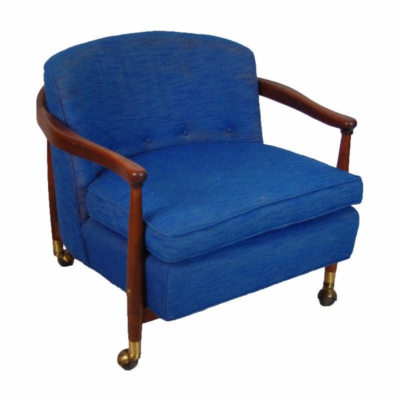 Rollins Modern Arm Chair Blue: Vintage Mid-century Modern Teak Blue Upholstered Rolling
