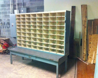 Enormous organizer sorter storage cubby mail cabinet retired from post office vintage industrial steel