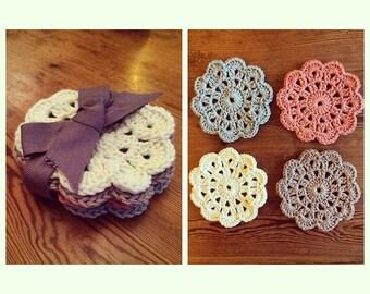 Handmade crochet coasters - 100% cotton