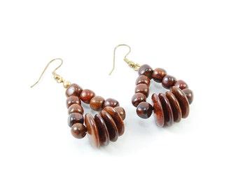 Tropical Wood Pendant Earrings Studs