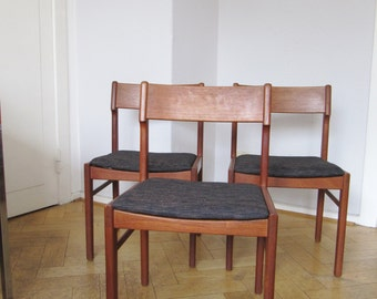 3 teak Chairs - Dining Chair - 60s - Vejle Denmark