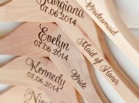 4 - Personalized Bridesmaid Hangers - Engraved Wood Hangers