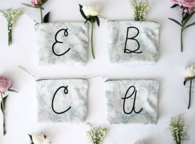BRIDESMAID gift set/ personalized letter make up bag from tapestry print fabric storage pouch monogramed wedding souvenir