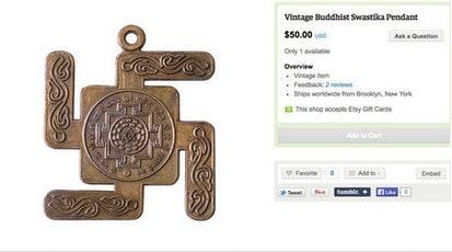 Vintage Buddhist swastika pendant