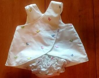 Cross-back Dress with Ruffle Butt Diaper Cover