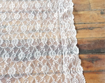 Romantic White Lace Curtain Panel With Scalloped Edge