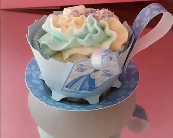 12 Cupcake TeaCups Blue Princess with saucers