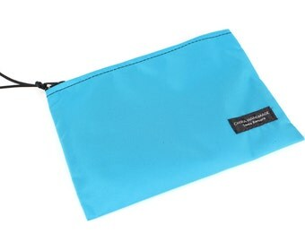 8x6 inch Aqua Blue basic nylon zipper pouch -- use for travel, snacks, cosmetics, a tool bag, photo-video gear, and more!
