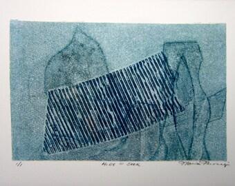 """Original Abstract Monotype """"Hide N Seek"""""""