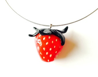 Necklace THE STRAWBERRY -- choker with polymer clay pendant, red / green by The Sausage