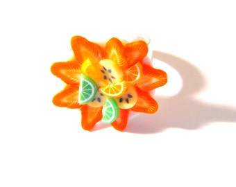 Ring JUICY, FRUITY-- Miniature multicolored fruit platter ring by The Sausage