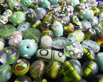 1 Pound vintage style supper delux handmade green colour combination LAMPWORK glass beads mix ONE POUND.