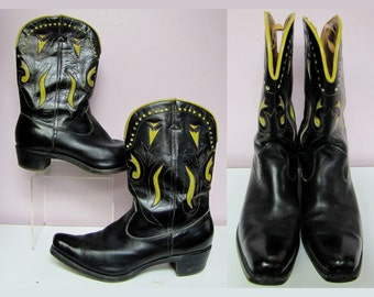 ROCKABILLY 1950's Vintage Cowboy Boots, HAND Painted & Cut Out LEATHER, Western Roper Style, size 10 Mens