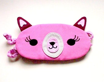 ALPACA Sleep Mask, Eyemask, eye mask, beauty sleep mask, sleep eye mask, Alpaca mask, Llama eyemask, Alpaca sleeping mask - PINK Alpaca