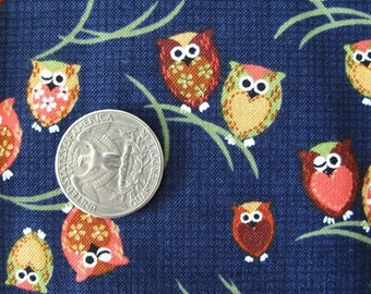 JAPANESE Cutest OWLS Print Fabric Retro 1FQ Blue