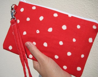 Wedding Clutch 2 pockets,, cotton, wristlet, medium,red,dots - Pocho red
