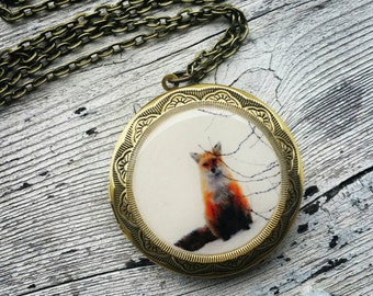 Friendly Fox Locket Necklace As featured in LOULOU Magazine