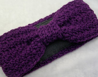 Crocheted Earwarmer with Fleece Lining Deep Purple Hollywood Starlet Turban Style Head Wrap Headband  - READY to SHIP
