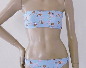 Strapless Bandeau Two Piece Bikini in Pale Blue Vines Print in Custom Cup Sizes