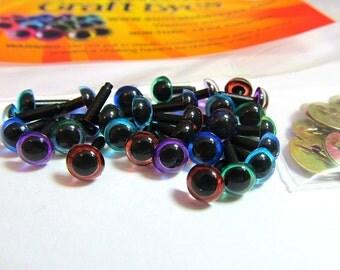 15 Pair 10.5mm Craft Eyes in Sky Blue, Purple, Blue, Green, Brown