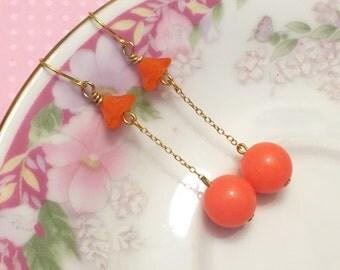 Retro Earrings, Orange Flower Earrings, Orange Ball Earrings, Funky Disco Earrings, Vintage Assemblage Earrings,KreatedByKelly