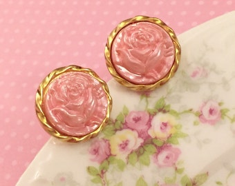 Pink Rose Earrings, Pink Rose Studs, Gold Trimmed Shabby Rose Studs, Glossy Pink Vintage Button Studs, Pink Flower Earrings (SE3)