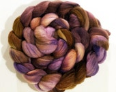 Handdyed Polwarth Wool/Tussah Silk Roving - Katharina - brown, chestnut, purple