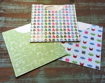 CD Paper Sleeves Set • Alien Gamers • 3 Handmade Disk Covers • Envelopes • Gift Wrap • Pockets • Printed Paper • DVD