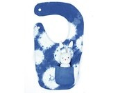 Shibori baby bib with removable bunny: hand-dyed