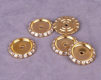 Gold Rhinestone Metal Disk 24mm - 2 Pieces (MD24GOR-2)