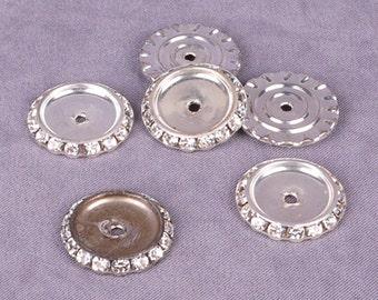 Silver Rhinestone Metal Disk 24mm - 10 Pieces (MD24SR-10)