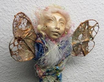 OOak Spirit Art Doll, Dragonfly Nature Spirit, Mix Media, Assemblage Art by Griselda