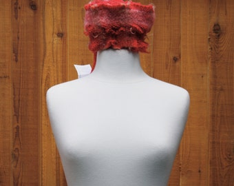 Raspberry R02, an Everyday Scarf in scarlet red with a pink stripe