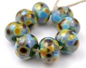 Garden Path - Handmade Artisan Lampwork Glass Beads 8mmx12mm - Green, Blue, Purple, Amber - SRA (Set of 8 Beads)